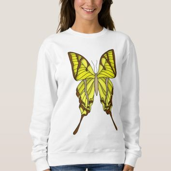 Brown and White Butterfly Art Graphic Sweatshirt
