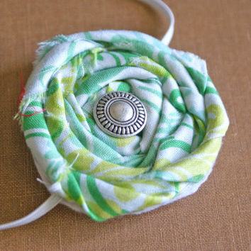 Green, White Fabric Rosette Headband with Silver Button/ 0-12 month through adult