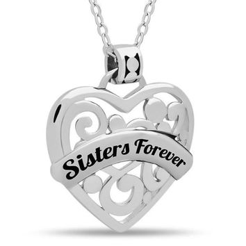 """Sister Heart Necklace,  925 Silver, Silver Plated Necklace Engraved w """"Sisters Forever"""""""
