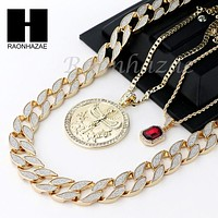 ICED OUT RUBY EGYPTIAN MAAT ROUND PENDANT CUBAN LINK ROPE CUBAN NECKLACE SET D19