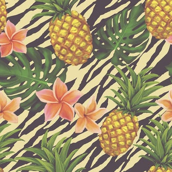 Pineapple on Zebra Removable Wallpaper