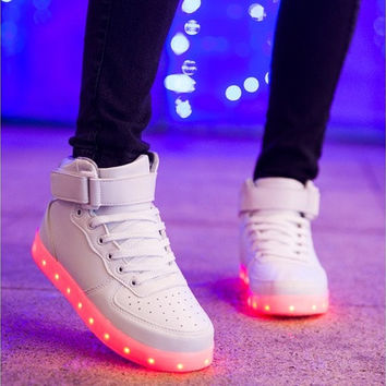 USB Charging 7 Colors Womens Casual Led Sneakers Light Up Shoes for Adults(Black,White) [8096621255]