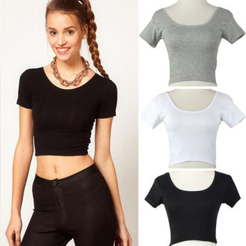 Short Sleeves Sexy Women Basic Tees Short Tops Cropped