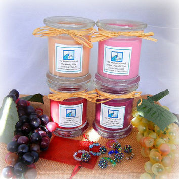Wine Lovers Fragrance Collection - Set of Four 12oz Wine Scented Soy Candles and Six Hand Beaded Wine Glass Charms