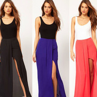 Casual Chiffon Slit Maxi Dress