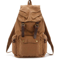 Retro Double Leather Strap Hasp Large Canvas School Bag Camping Backpack