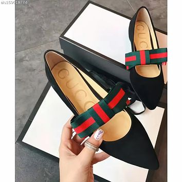 :Gucci: Mosaic stripe bowknot Extra high in frosted skin Women's Shoes