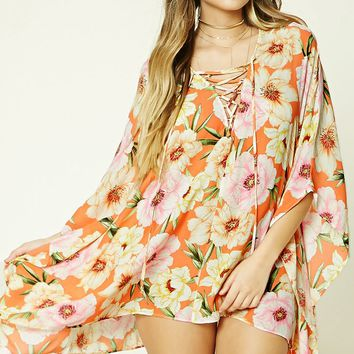 Tropical Floral Cover-Up Kaftan