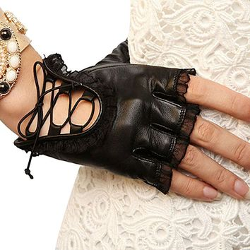 Womens Lace Fingerless Gloves PU Leather Cosplay Costume Party Black S-M Size