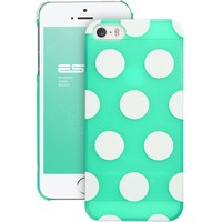 iPhone 5s Case,ESR the Beat Series Polka Dots Pattern Hard Back Cover Snap on Case for iPhone 5 / 5s (Transparent Mint)