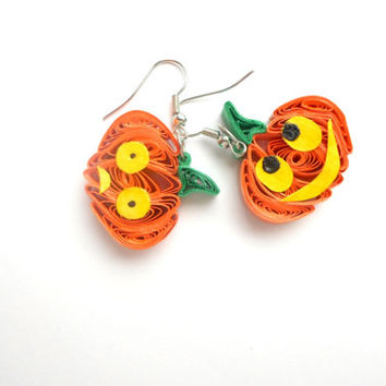 Quilled Pumpkin Earrings,  Halloween jewelry ,  Halloween pumpkins,  Gift for Halloween, Halloween, pumpkins