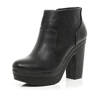 River Island Womens Black platform ankle boots