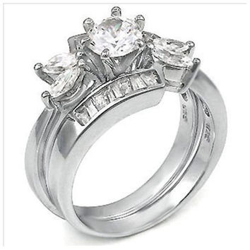 Sterling Silver Round cut, Marquise cut CZ and Baguette Channel set Wedding Ring Set Size 5-9