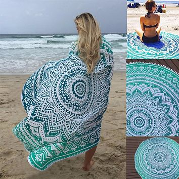 Sunbath Round Beach Towels Bohemian Style Print Ball Tassel Blanket Yoga Mat Women Sunbath Dress Bath Towel