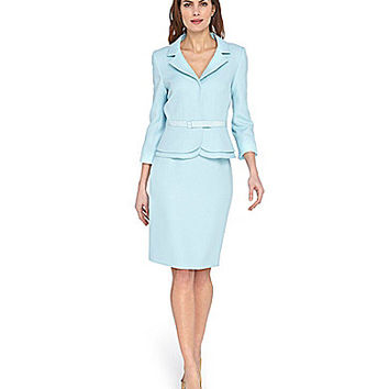 Tahari by ASL Herringbone Skirt Suit - Light Blue