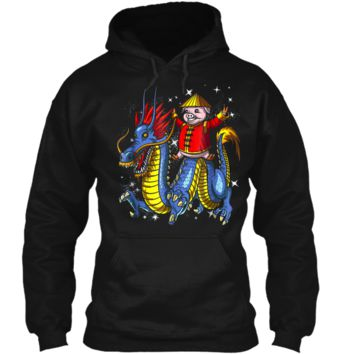 Chinese New Year 2019 Pig Riding Dragon Gift Pullover Hoodie 8 oz