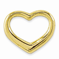 14k Gold Polished Floating Heart Slide Pendant