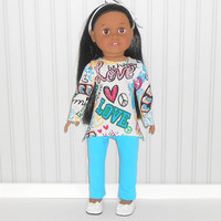18 inch Girl Doll Love Tunic Top with Peace Signs and Turquoise Leggings American Doll Clothes