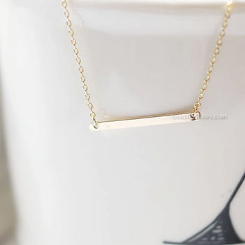 skinny Gold bar necklace...Slim bar necklace, sideways bar necklace, dainty minimalist handmade necklace, wedding gifts, bridesmaid gifts