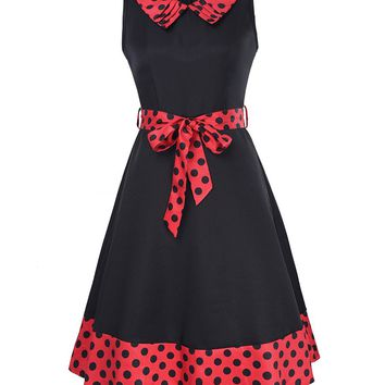 Streetstyle  Casual Doll Collar Bowknot Polka Dot Delightful Plus Size Flared Dress