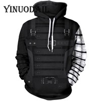 YINUODAIL  Winter Soldier Unisex Hoodie 3D Printed Hoodies for Marvel Movie Fans