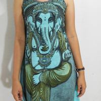 USA SHIPPING**Women's Weed Hindu Yoga Long Tank Top Dress Turquoise WD07-08S
