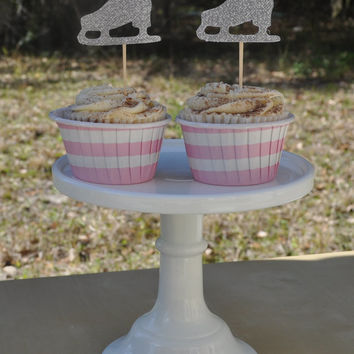 12 Glitter Ice Skate Cupcake Toppers for a Birthday Party in Blue, Silver, Pink, or Purple