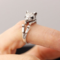 Squirrel Adjustable Animal Rings,  Ring Women's Teen's Retro Burnished Jewelry Black Crystal Wrap Ring