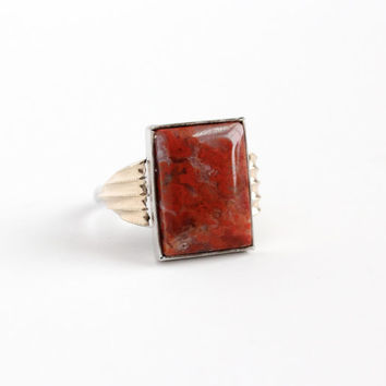 Vintage Sterling Silver & 10k Yellow Gold Filled Dark Red Moss Agate Ring - 1930s Size 7 Art Deco Rectangular Gem Statement Two Tone Jewelry