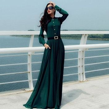 Maxi Dress Long Sleeve Casual Evening Fashion