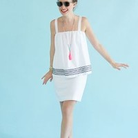 Embroidered Urchin Petite Dress by WHIT White