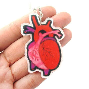 My Heart Belongs To You Human Heart Anatomy Shaped Necklace in Acrylic | DOTOLY