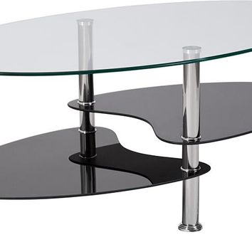 Hampden Glass Coffee Table with Black Glass Shelves and Stainless Steel Legs [HG-600920-GG]