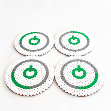 Xbox drinks coasters , hama pearl bead coasters , video game pixel art , geek gift, uk seller
