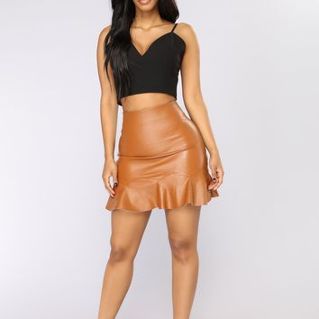 On A Roll Faux Leather Skirt - Brown