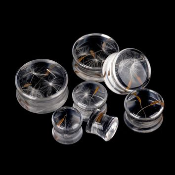 1Pair Clear Acrylic Ear Tunnel Dandelion Ear Reamer Saddle Plugs Big Gauges Body Piercing 2017 New Ear Expander s10-25mm