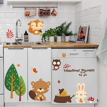 woodland animal Cherry christmas wall stickers Home decorations bear tree flower removable vinyl wall decals Happy new year 1221