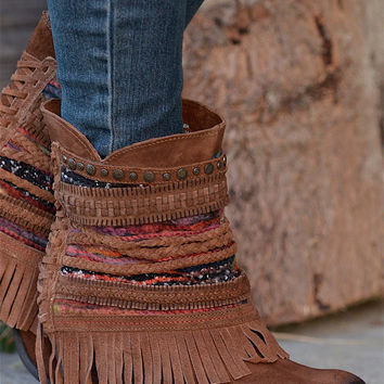 NAUGHTY MONKEY Poncho Booties - Tan