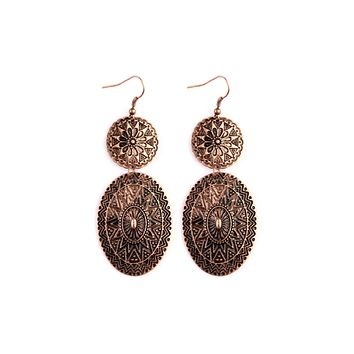 Chevron Pattern Engraved Drop Earrings