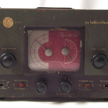 vintage tube set radio antique old the hallicrafters co skyrider jr electronics metal glass tubes collectible mens decorative home decor