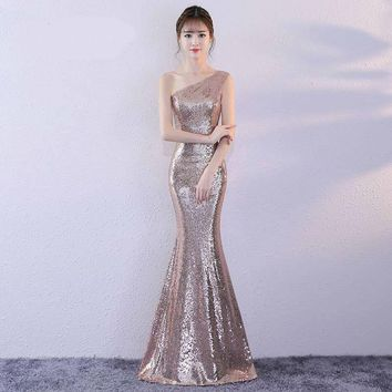 Zipper One Shoulder Mermaid Elegant Evening Dresses Floor Length Party Gown Evening Gowns Formal Dresses