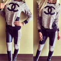 CHANEL Fashion Long Sleeve Sport Gym Set Top Pants Two-Piece Sportswear