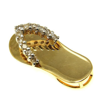 0.20CTW DIAMOND SOLID 14K YELLOW GOLD HAWAIIAN FLIP FLOP SLIPPER PENDANT