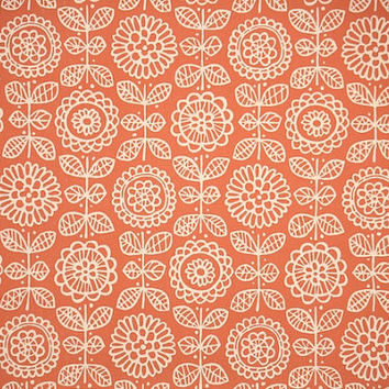 1950's Vintage Wallpaper - Floral Wallpaper White Floral and Pretty Orange Background
