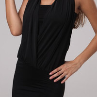 Halter Sleeveless Spliced Slimming Dress