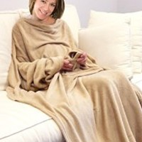 KC Caps® Napa Stylish Microplush Fleece Blanket with Sleeves Soft Home Adults Snuggie, Brown