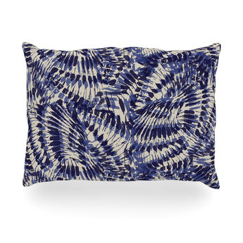 "Gukuuki ""Iggy Palms"" Navy Blue Oblong Pillow"