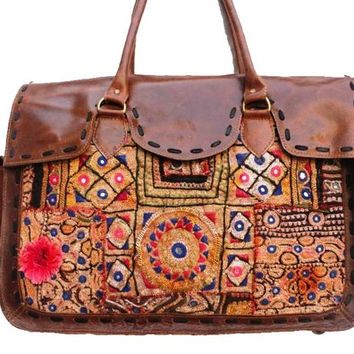 Indian Cotton Handmade Gypsy Banjara Leather Shoulder Bag, Vintage Tribal Banjara Bag, Ethnic banajra Doctor Gypsy Bag, Tote Bags