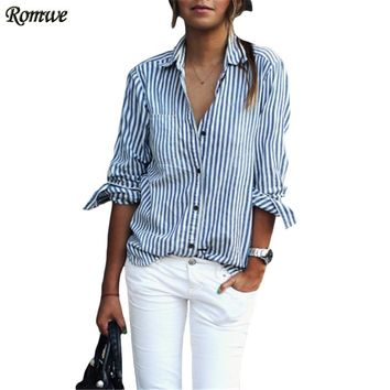 Fashion Shirt Woman Autumn Ladies Casual Lapel Long Sleeve With Buttons Vertical Striped Slim Blouse
