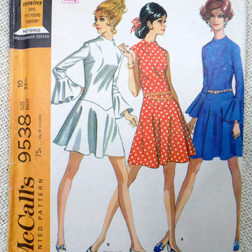 Vintage Pattern McCall's 9538 1960s 1968 Full Skirt drop waist Dress Mod bust 32.5 flutter sleeve bell angel high neck drop waist